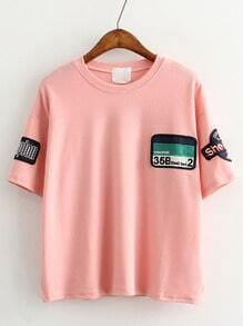 Pink Short Sleeve Patch Casual T-shirt