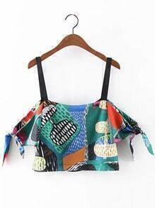 Multicolor Print Self-tie Bow Straps Blouse