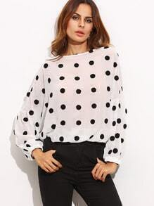 Black White Lantern Sleeve Flocking Polka Dots Blouse