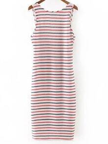 Multicolor Sleeveless Zipper Backless Stripe Dress
