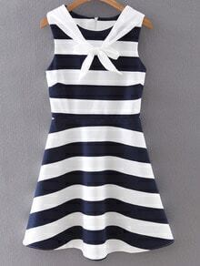 Navy Sleeveless Self-tie Bow Stripe Skater Dress