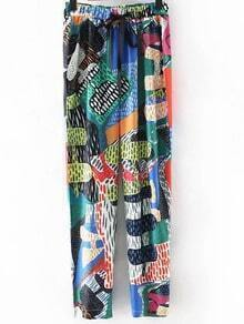Multicolor Pockets Elastic Tie-Waist Bow Print Pants