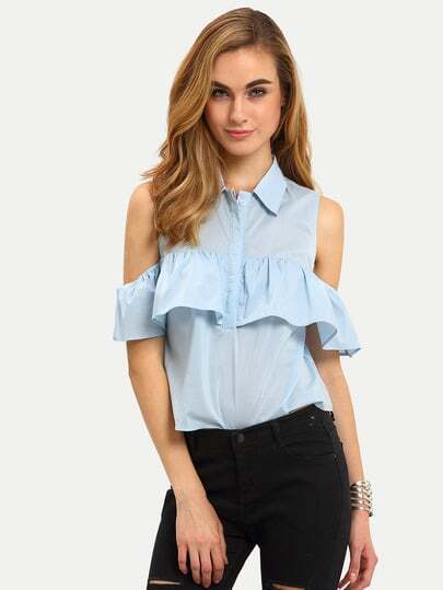 Frill Layered Open Shoulder Blouse