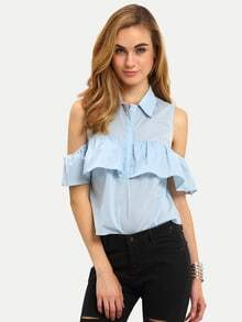 Light Blue Cold Shoulder Ruffle Bottons Blouse