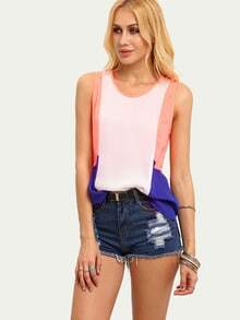 Multicolor Patchwork Sleeveless Dip Hem Blouse