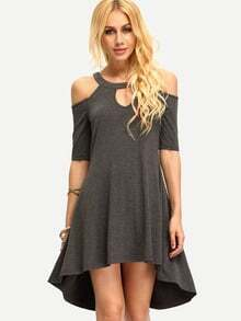 Dark Grey Cold Shoulder Hollow High Low Dress