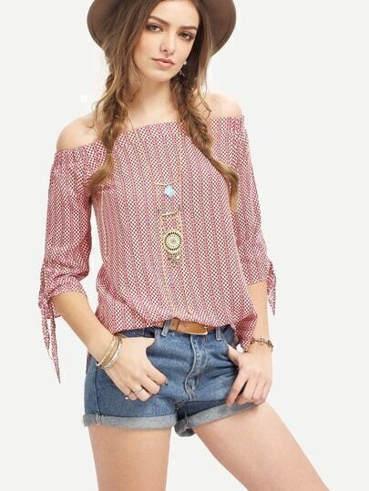 Red Off The Shouldet Tie Cuff Blouse