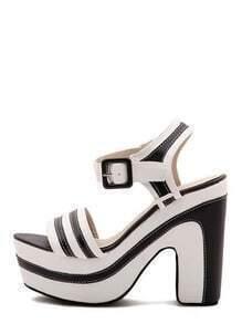 Black White Contrast Buckle Platform Heels
