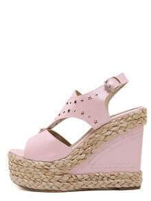 Pink Espadrille Open Toe Wedge Pumps