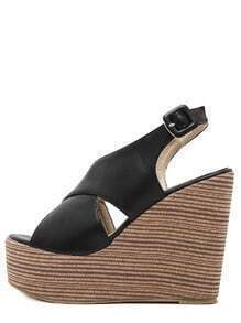 Black Open Toe Cork Sole Wedge Pumps