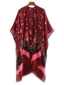 Tree Print Raw Hem Kimono