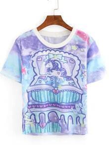 Unicorn Print Ombre Sport Mesh T-shirt