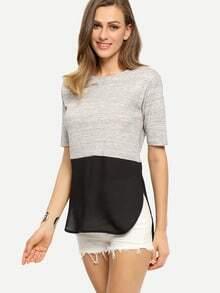 Grey Patchwork Black Short Sleeve Dip Hem T-shirt
