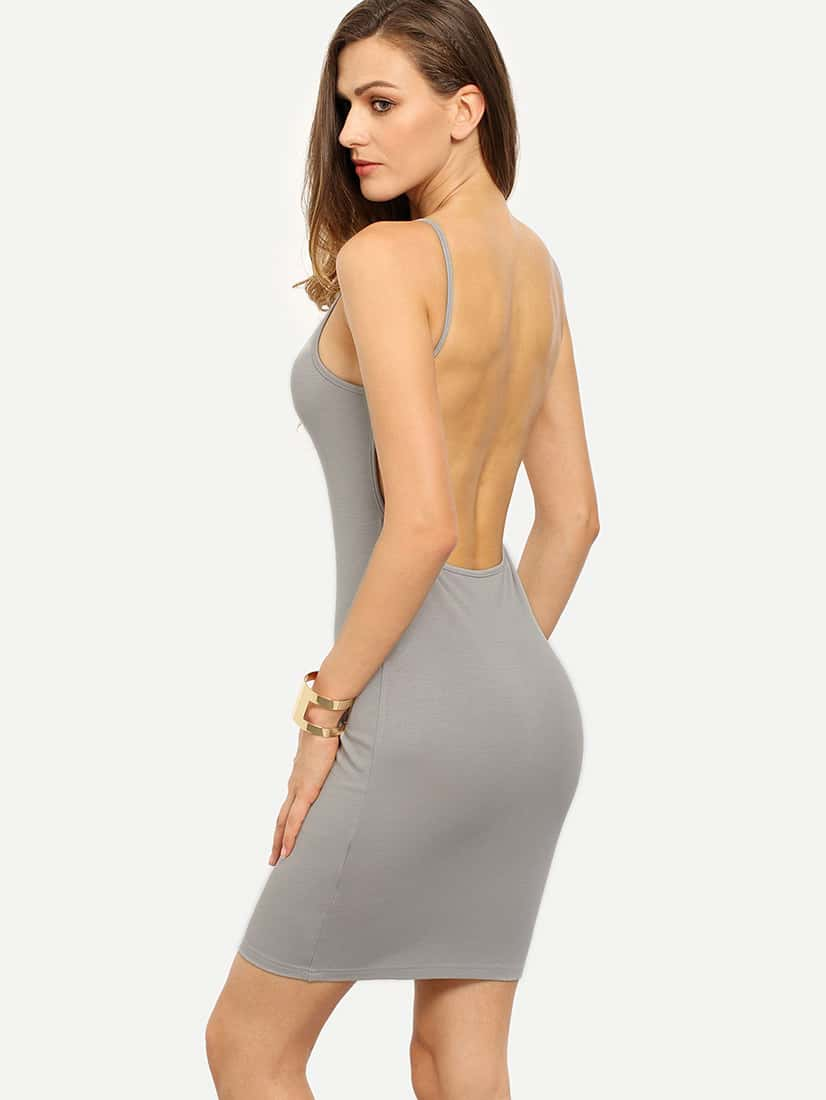 Grey Spaghetti Strap Backless Bodycon DressGrey Spaghetti Strap Backless Bodycon Dress<br><br>color: Grey<br>size: XS