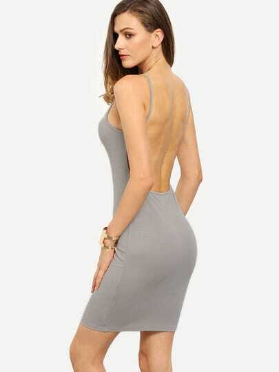 Grey Spaghetti Strap Backless Bodycon Dress