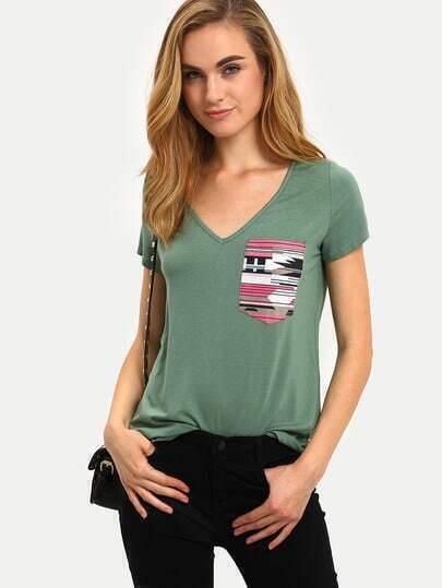Green Short Sleeve V Neck Pocket T-shirt