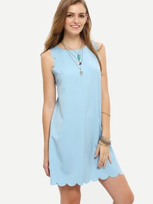 Scallop Cuff Hem Tank Dress
