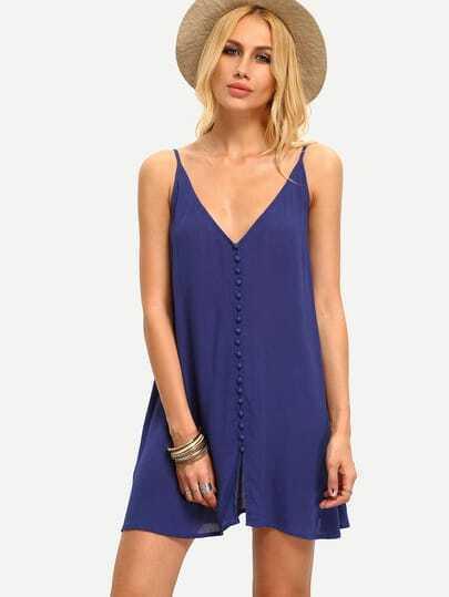 Blue Spagettic Strap V Neck Bottons Shift Dress