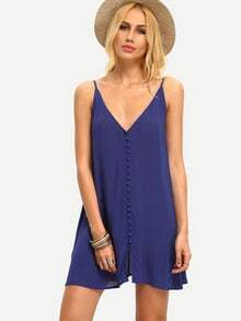 Blue Spagettic Strap V Neck Bottons Shift Dress