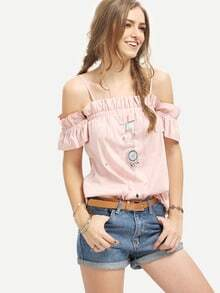 Pink Cold Shoulder Pleated Blouse