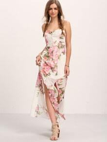 Multicolor Flower Print Bottons Split Maxi Dress
