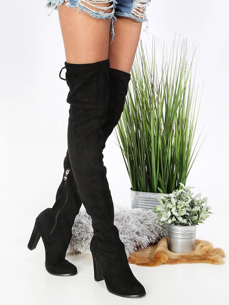 Фото Thigh High Chunky Heel Boots BLACK. Купить с доставкой