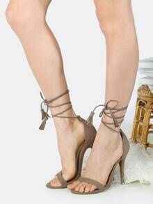 Open Toe Tassel Lace Up Heels TAUPE