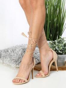 Lace Up Tassel Stiletto Heels NUDE
