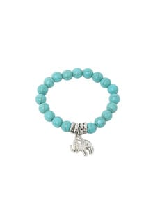 Turquoise Beads Silver Plated Elephant Bracelet