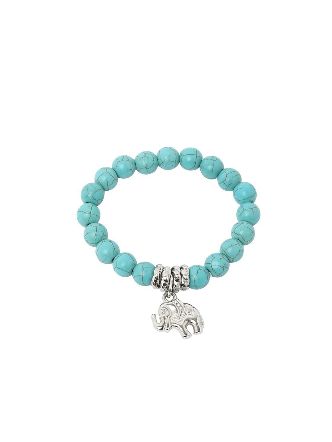 Turquoise Beads Silver Plated Elephant Bracelet