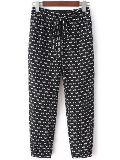 Black White Pockets Tie-Waist Bow Arrow Print Pants