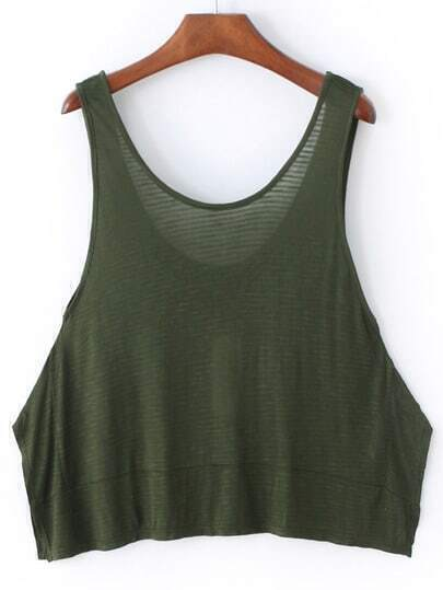 Army Green Round Neck Loose Camis Top