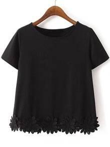 Black Short Sleeve Flowers Hem Casual T-shirt