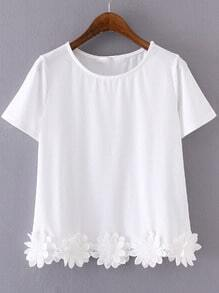 White Short Sleeve Flowers Hem Casual T-shirt