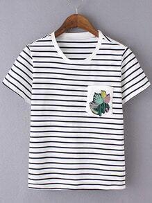 Black White Stripe Embroidery Pocket T-shirt