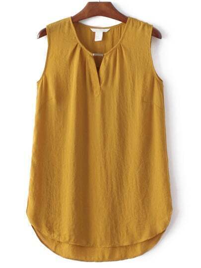Yellow Sleeveless Split Side Chiffon Blouse