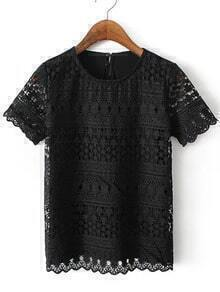 Black Short Sleeve Crochet Lace Splicing Blouse