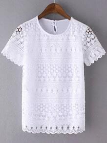 White Short Sleeve Crochet Lace Splicing Blouse
