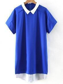 Blue Short Sleeve Zipper Back Contrast Collar Dress