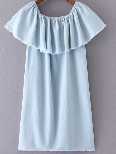 Light Blue Ruffle Boat Neck Fringe Denim Dress