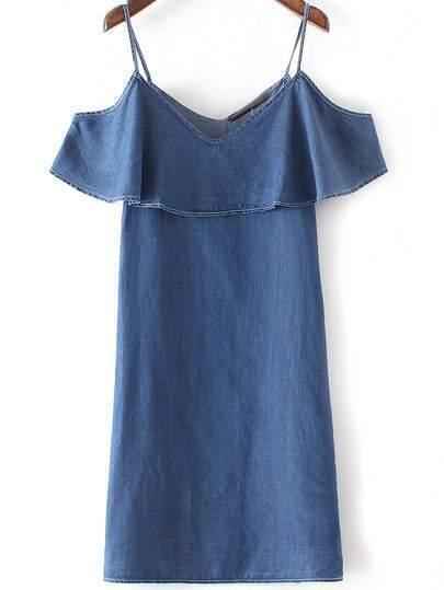 Blue Denim Ruffle Spaghetti Strap Dress