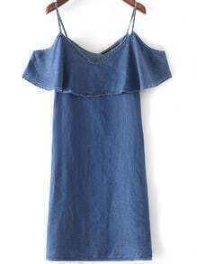 Blue Denim Ruffle Spaghetti Strap Dress