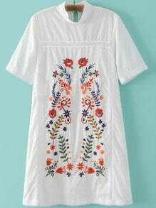 White Mock Neck Short Sleeve Keyhole Back Embroidery Dress