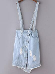 Light Blue Buttons Front Ripped Hole Denim Straps Skirt