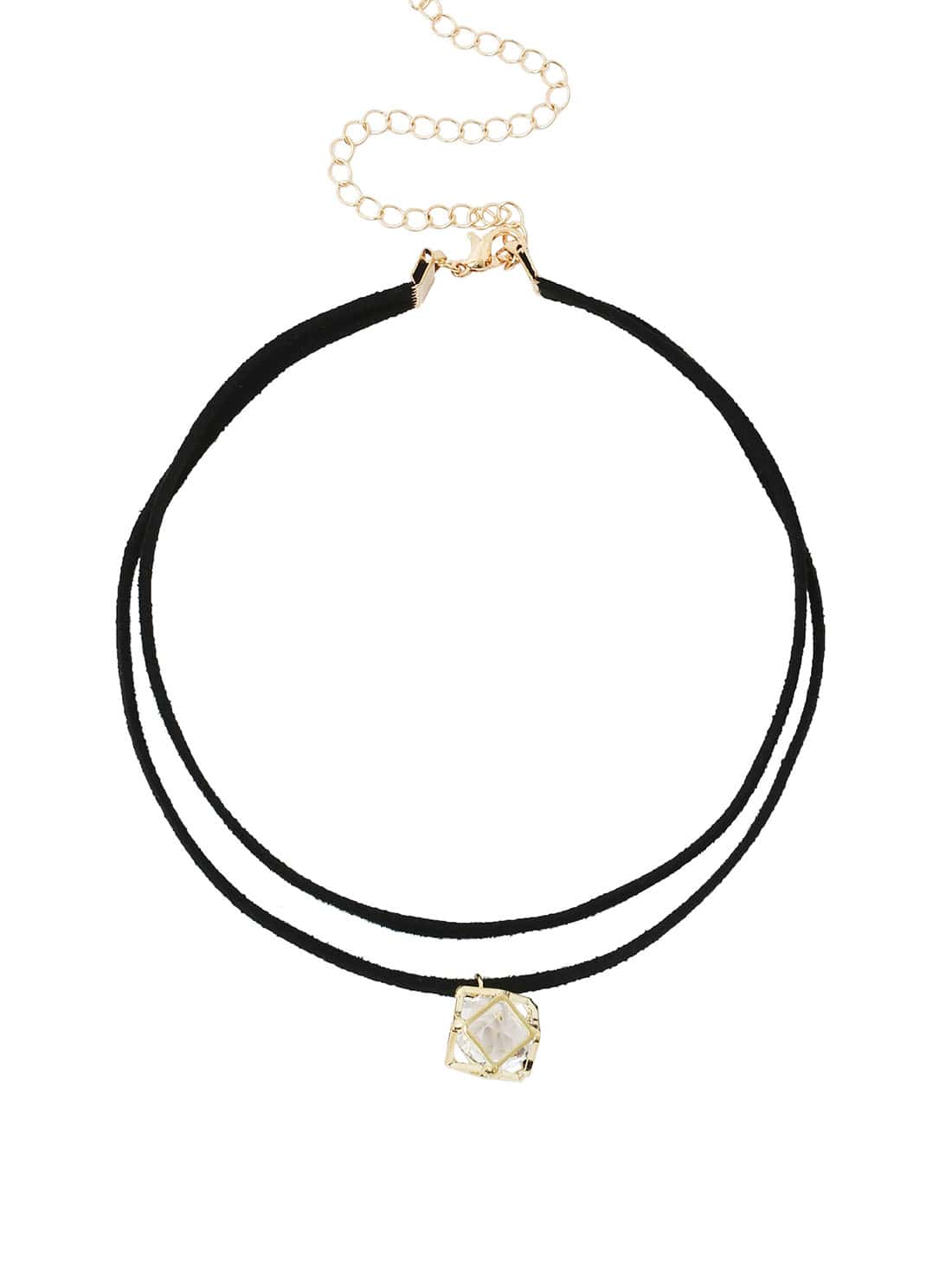 Faux Crystal Cage Pendant Double Layer Choker