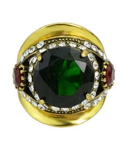Green Shining Rhinestone Big Stone Ring