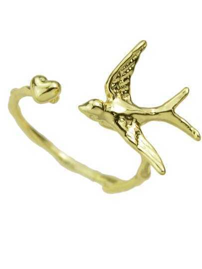 Gold Bird Shape Cuff Ring