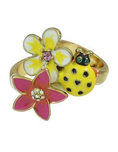 Colorful Enamel Flower Rings Set