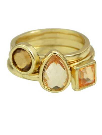 Gold Plated Small Finger Rings Set