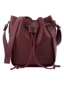 Embossed Faux Leather Drawstring Bucket Bag - Burgundy